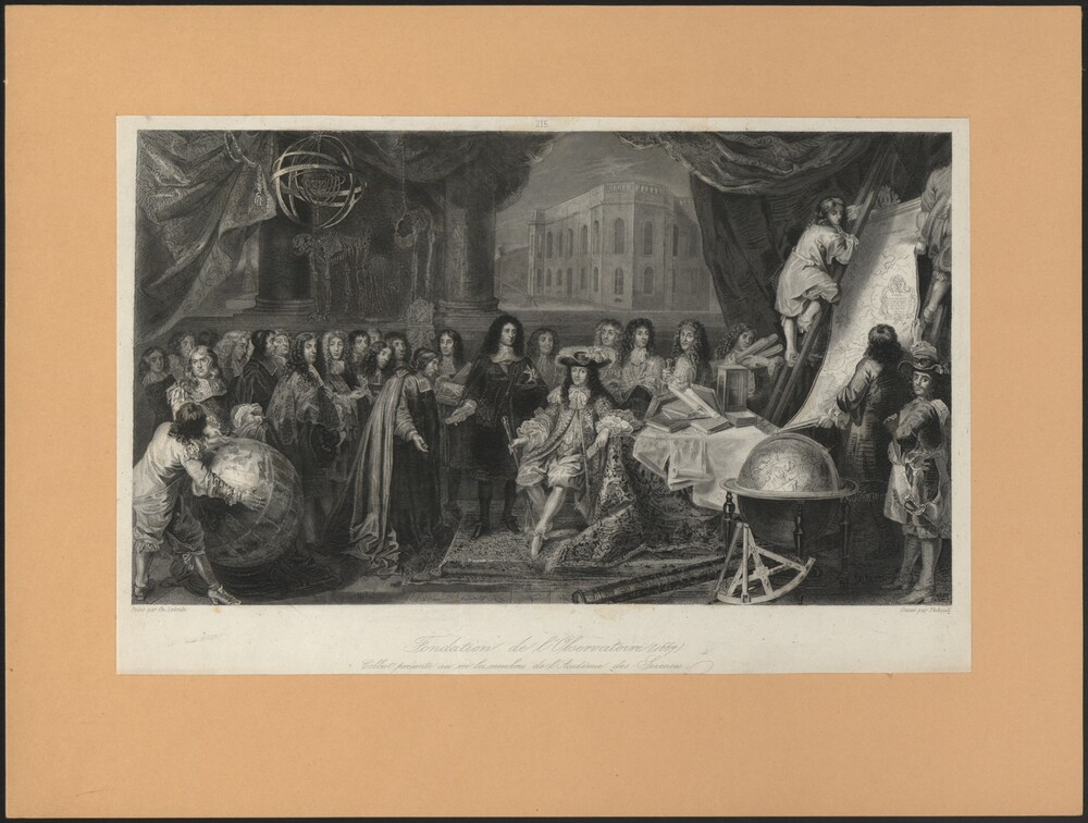 preview image for Print (Etching, Engraving) Founding of the Paris observatory and presentation of members of the Academie des Sciences to the King, by Thibault after Le Brun, France, 1669