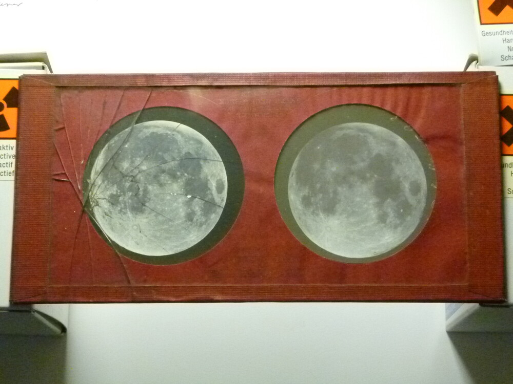 preview image for Stereoscopic Photograph (Collodion Glass Transparency) of the Moon, by Warren De la Rue, Published by Smith & Beck, London, c.1860