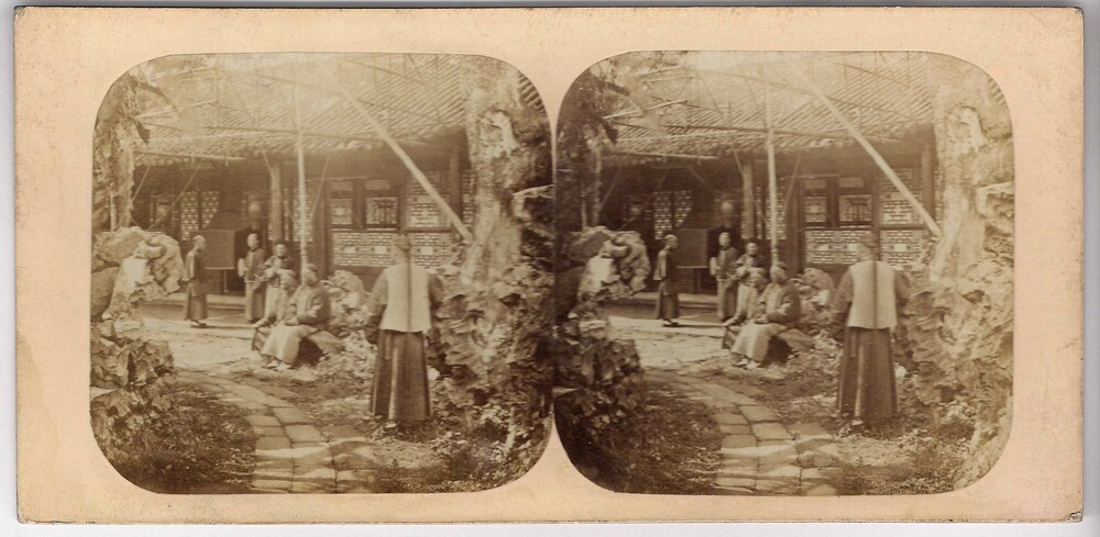 preview image for Stereoscopic Photograph (Albumen Prints) of a 'Group of Mandarins' in Canton, China, Probably 1860s