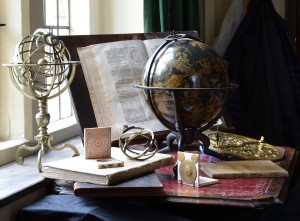 Johannes Schöner's magnificent celestial globe (centre) and other objects featured in the exhibition