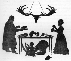 Silhouette of Dr William Buckland and his family at home with animals