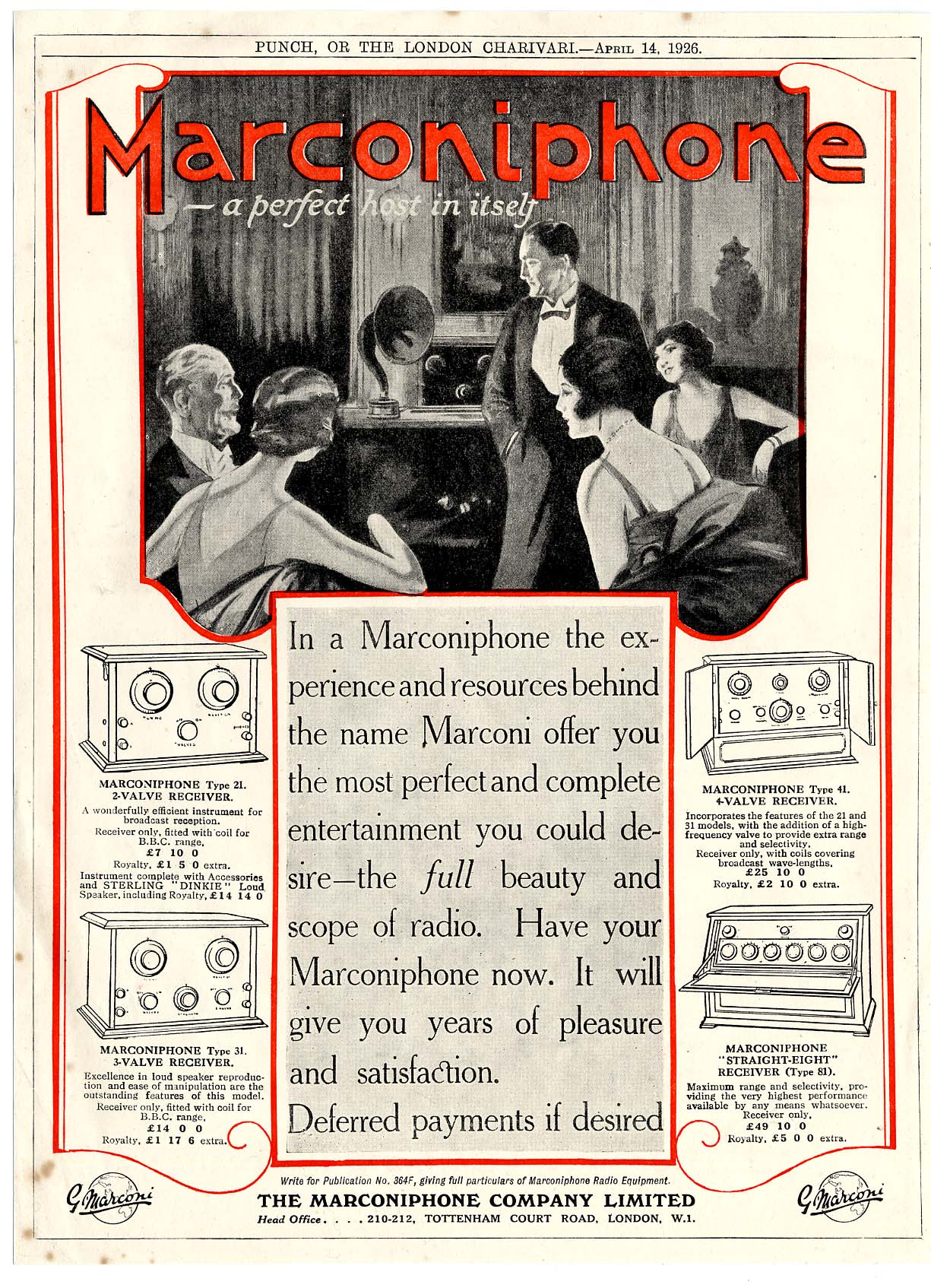 Marconi Advertisement from Punch, April 1926