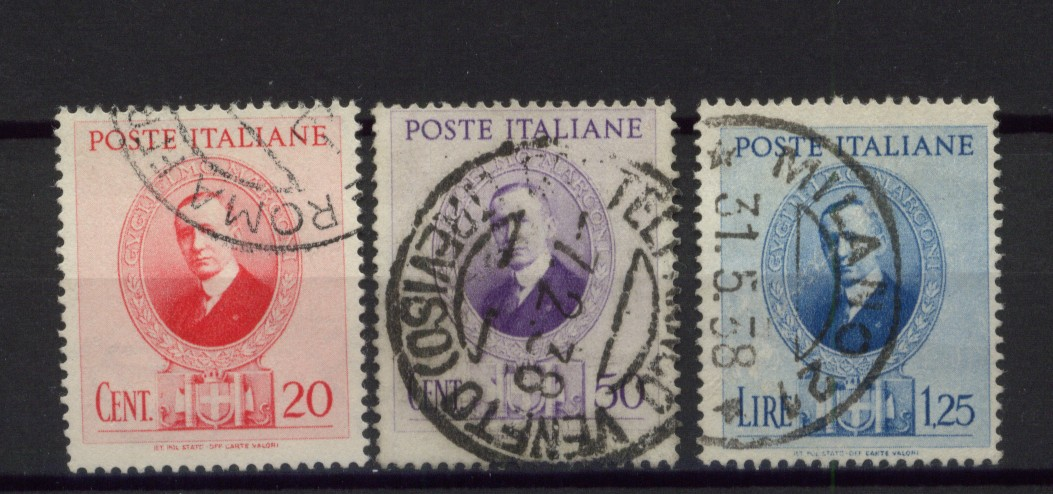 Three Marconi Italian Postage Stamps, 1938