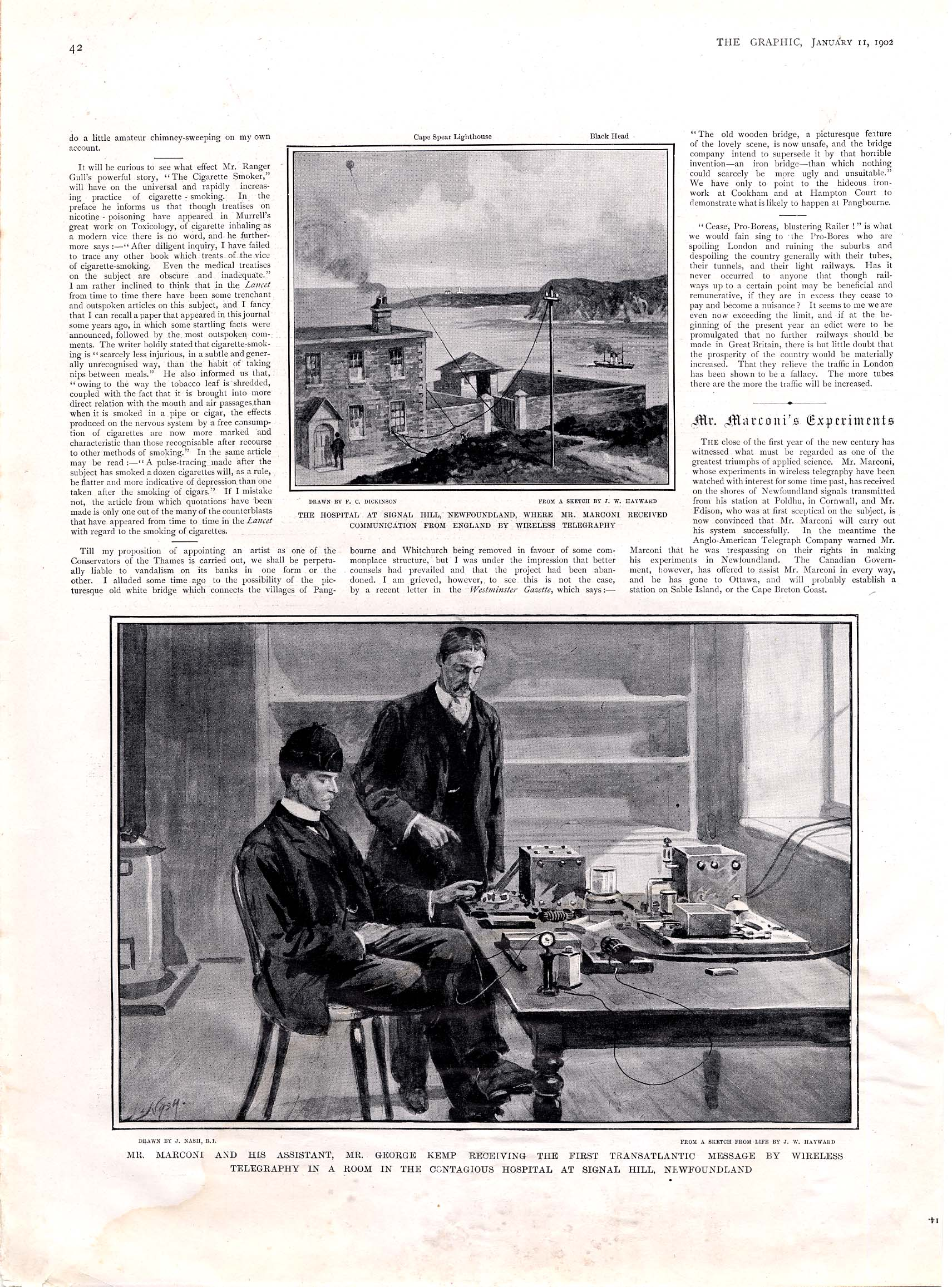 A Page from The Graphic, 11 January 1902, Illustrating Marconi's First Trans-Atlantic Signal