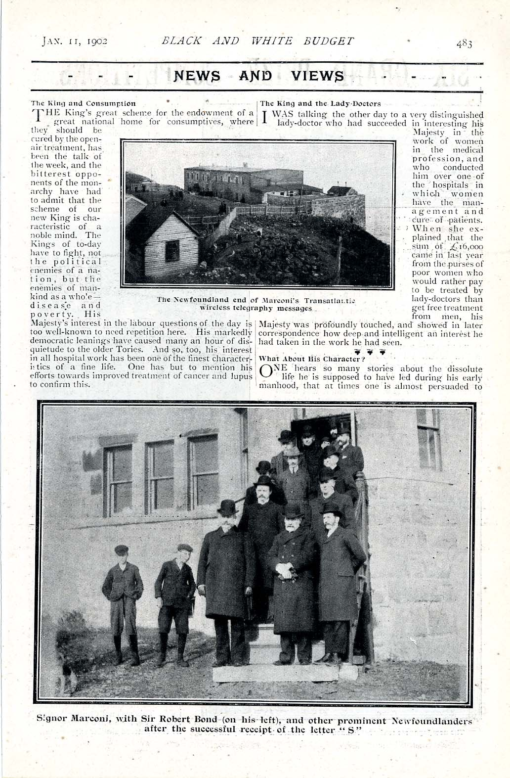 A Page from the The Black and White Illustrated Budget, 11 January 1902, with Illustrations from the Site of Marconi's Receiving Station