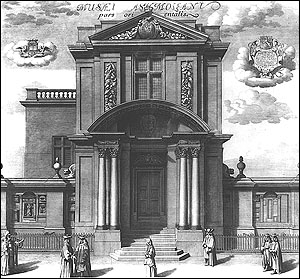 Engraving of the East Front of the Museum by Michael Burghers, 1685.