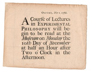 Lecture notice issued by the Oxford professor Thomas Hornsby, in 1766.