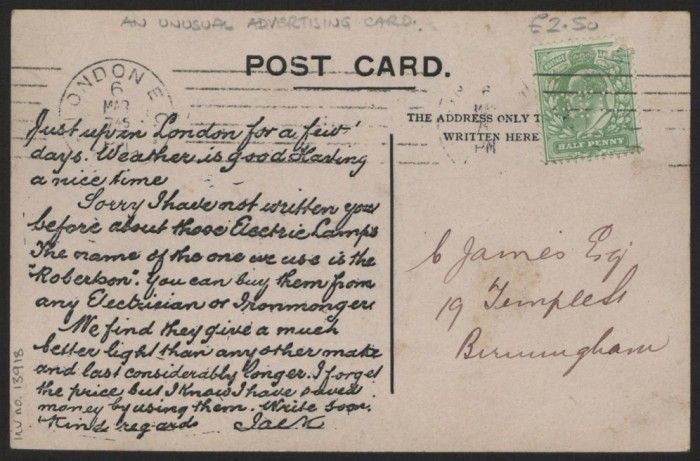 robertson postcard
