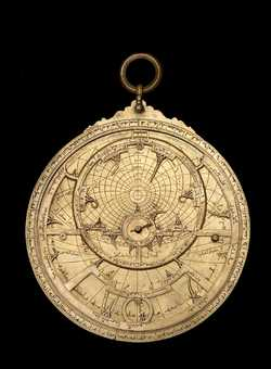Full image of astrolabe, North African, 13th century?  show universal projection(Inv. 41122)