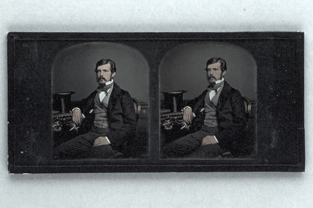 preview image for Stereoscopic Photograph (Daguerreotype) of a Man with a Top Hat, by T. R. Williams, 1856