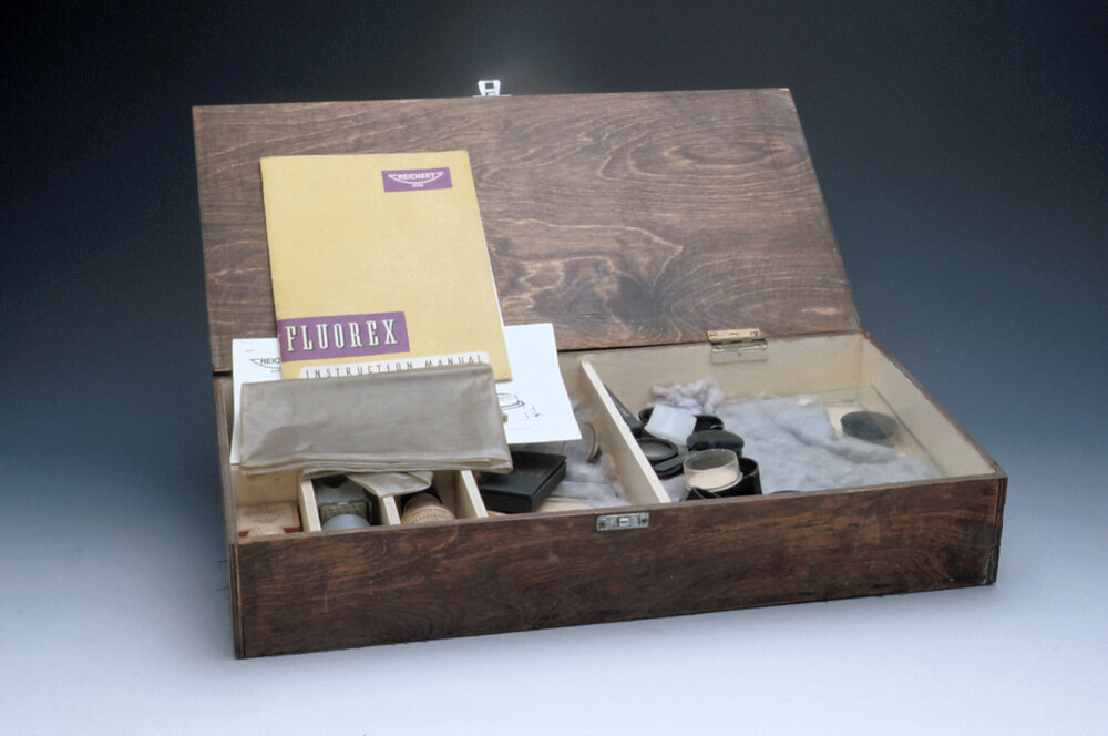 preview image for Box of Accessories for Fluorescence Microscopy, Mostly by Reichert, Vienna, c.1970