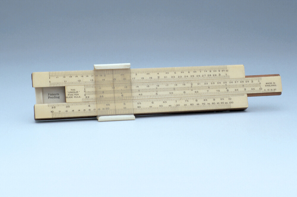 preview image for 'Unique' Five-Ten Straight Slide Rule, by Unique, English, 1940-1955