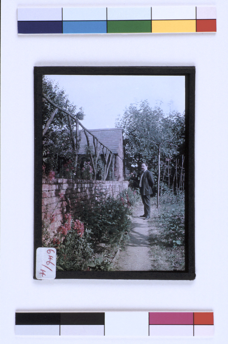 preview image for Colour Photograph (Paget Process) of a Man in a Garden, Probably a Self-Portrait, by Henry Minn, Early 20th Century