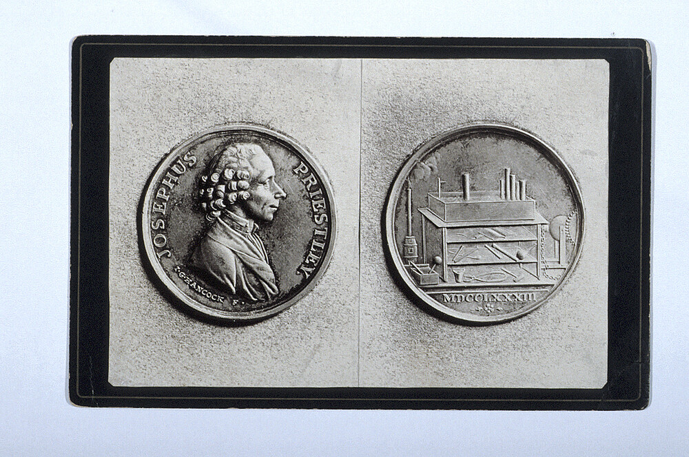 preview image for Photograph (Two Gelatine Prints Mounted on Card, Cabinet Format) of the Joseph Priestley Medal by Hancock (1783), c.1900