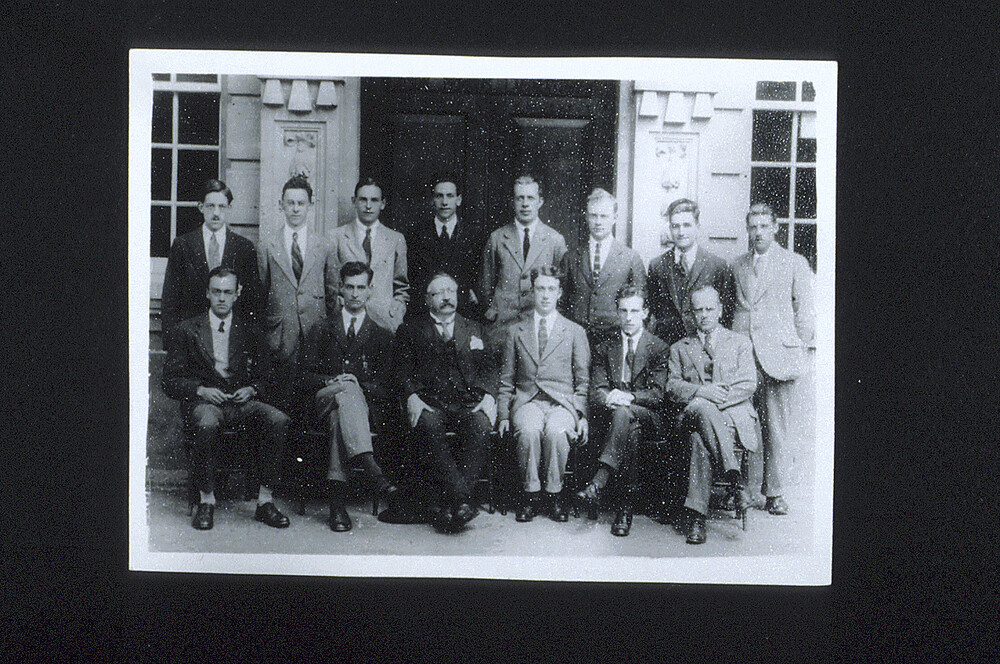 preview image for Photograph (Gelatine Print) of a Formal Group of Oxford Chemists with William Henry Perkin Outside the Dyson Perrins Laboratory, 1920s