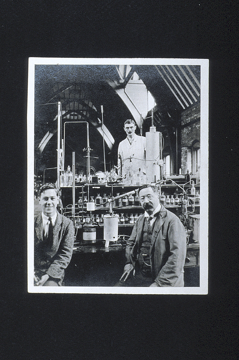 preview image for Photograph (Gelatine Print) of W. H. Perkin, E. G. J. Hartley, and Bertram Lambert with Apparatus in the Inorganic Chemistry Laboratory, Oxford, August 1926