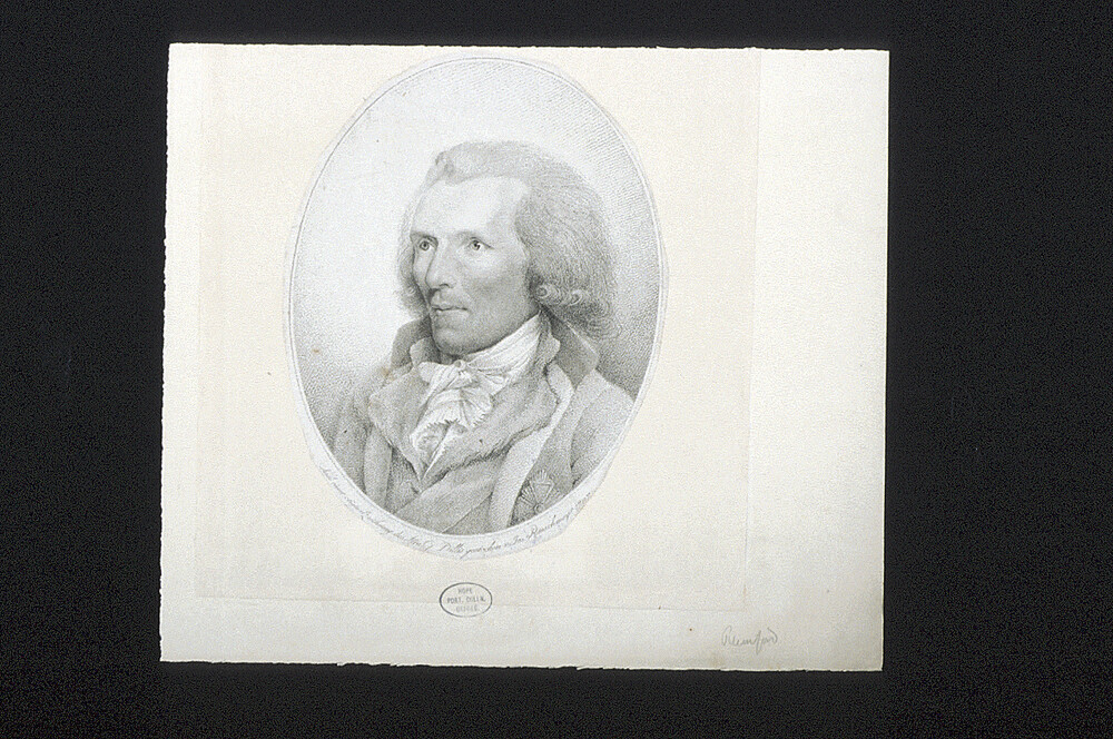 preview image for Print (Engraving) Sir Benjamin Thompson, Count Rumford, by J.P.R. Rauschmayer, after Georg von Dillis, Germany, 1797
