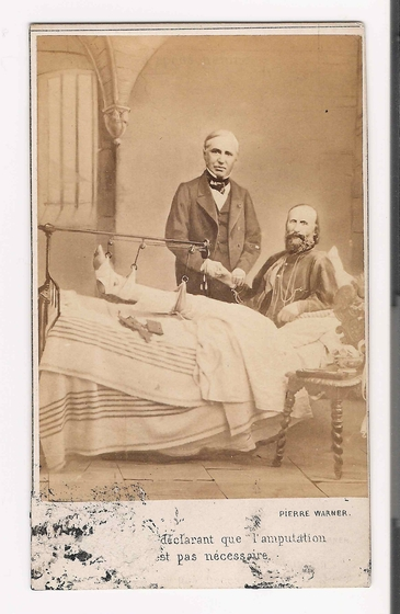 preview image for Photograph (Albumen Print, Carte de Visite) of Giuseppe Garibaldi with his Leg in Traction, Accompanied by his Doctor, by Pierre Warner, 1862