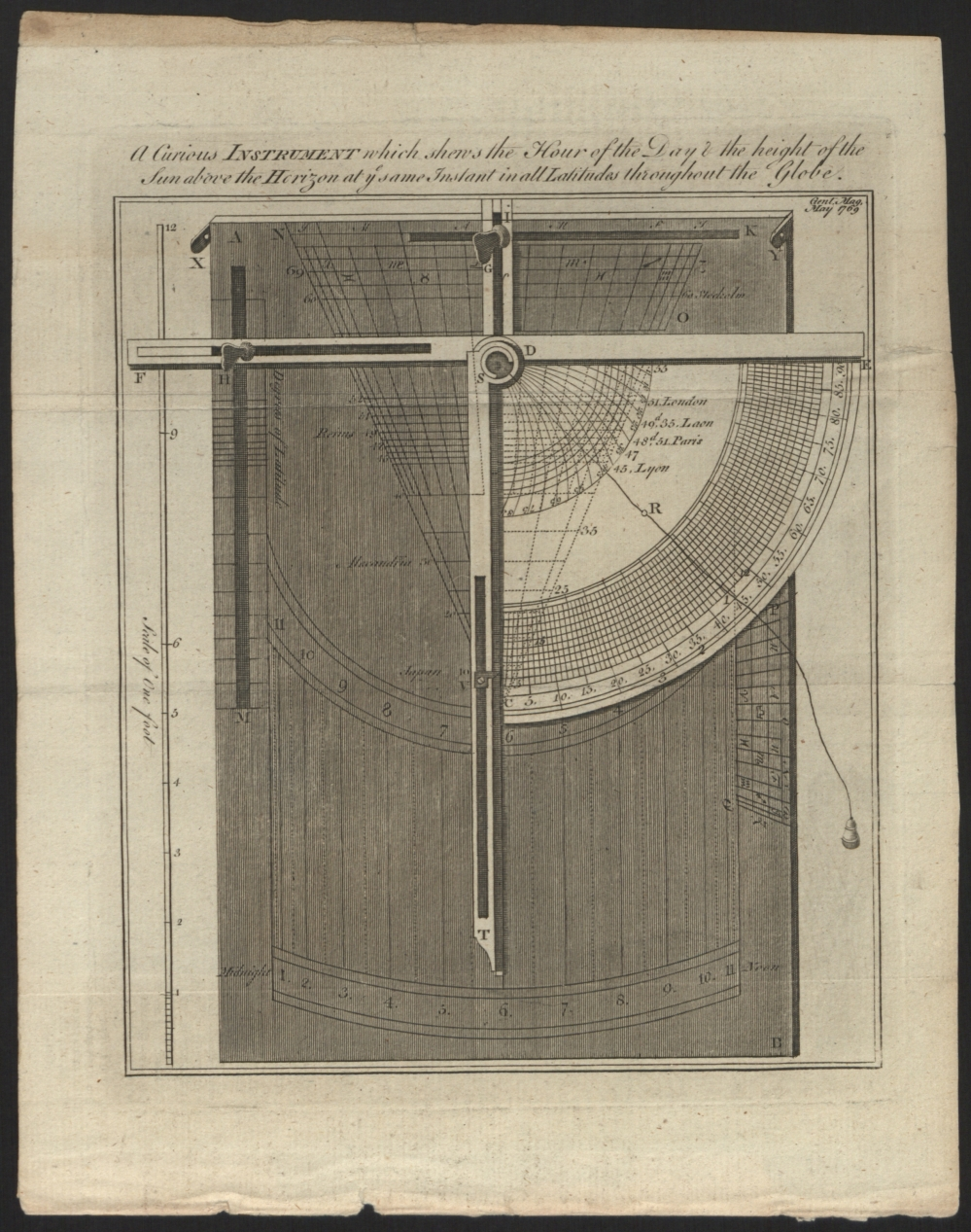 preview image for Print (Engraving) A curious Instrument which shews the Hour of the Day in the height of the Sun above the Horizon at ye same Instant in all Latitudes throughout the Globe, from the Gentleman's Magazine, May 1769.