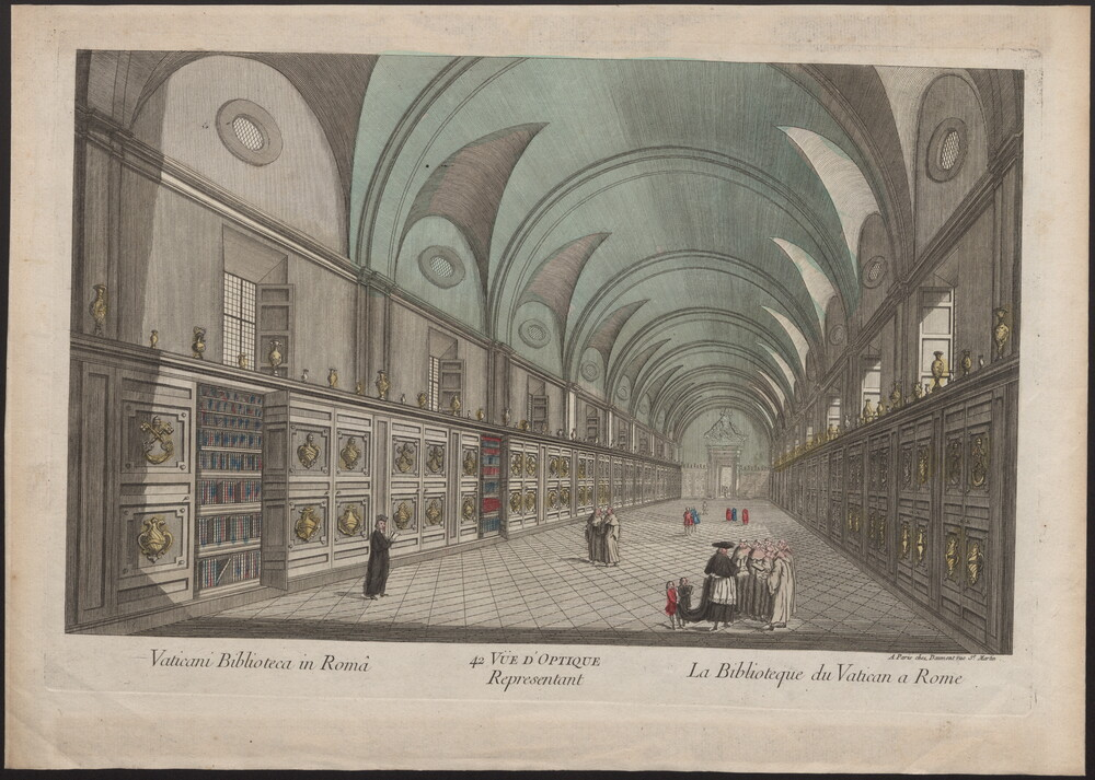 preview image for Print (Engraving) Vaticani Biblioteca in Româ, 42 Vue d'Optique La Biblioteque du Vatican a Rome, Paris, 18th Century
