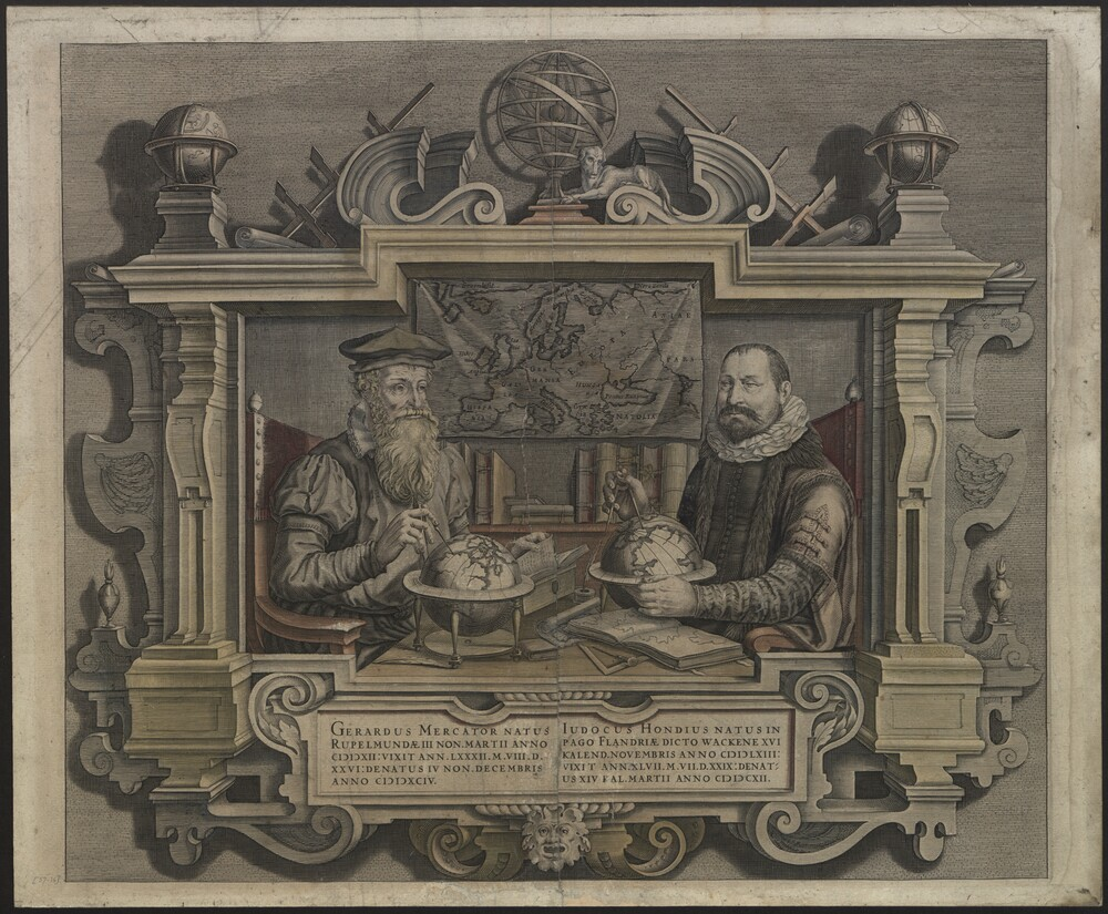 preview image for Print (Engraving, Hand-Coloured, Framed) of Gerard Mercator and Jodocus Hondius, Attributed to Colette Hondius, Early 17th Century