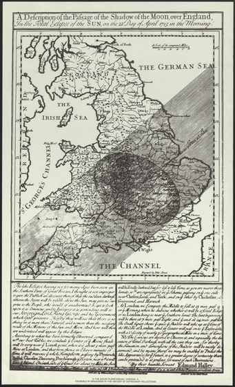 Print Broadside Facsimile Halleys A Description Of The Passage Shadow Moon Over England In Total Eclipse Sun On 22nd Day