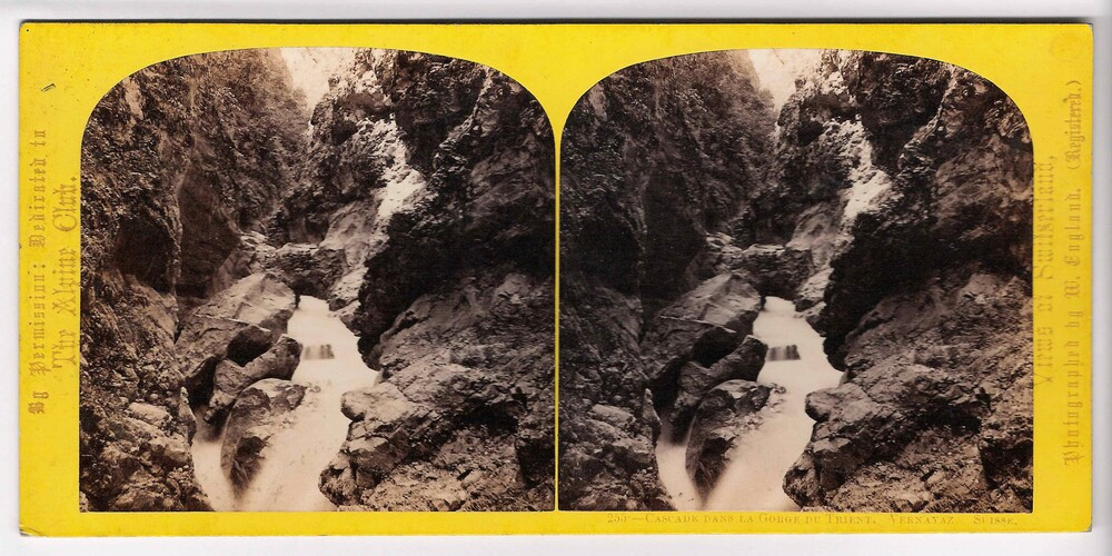 preview image for Stereoscopic Photograph (Albumen Prints) of a Waterfall in the Gorge du Trient, Switzerland, by William England, 1860s