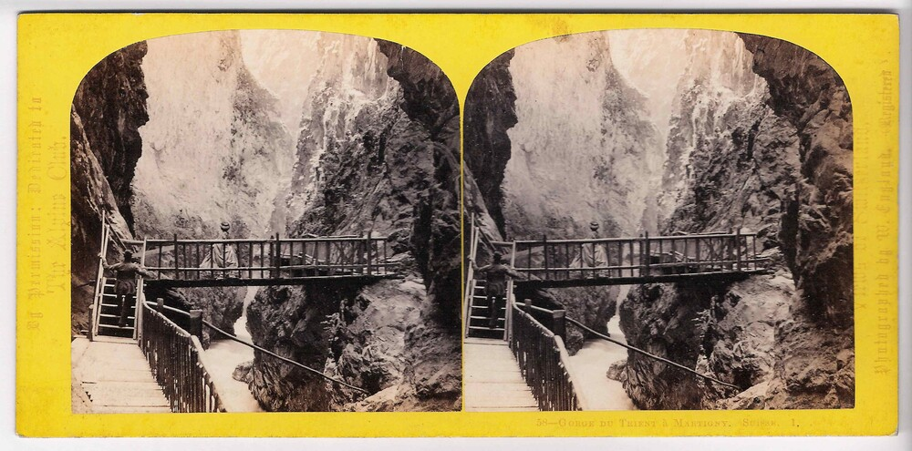 preview image for Stereoscopic Photograph (Albumen Prints) of the Gorge du Trient at Martigny, Switzerland, with Footbridge and Walkways, by William England, 1860s