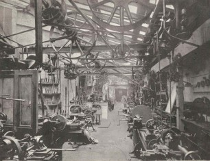 Machine tools in the Elliott Brothers factory,